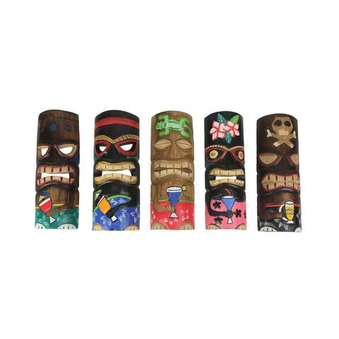 Set of 5 Polynesian Style Wooden Tiki Masks 10 Inch