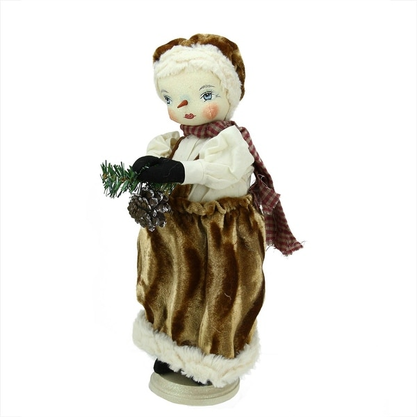 "15"" Gathered Traditions ""Fannie"" Snow Girl Decorative Christmas Figure with Stand"