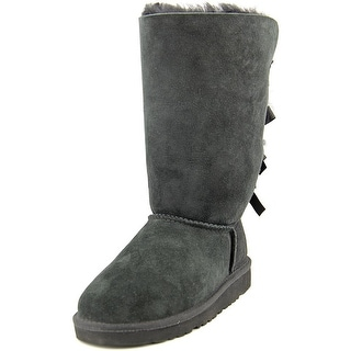 Ugg Australia Bailey Bow Tall Youth Round Toe Suede Black Mid Calf Boot
