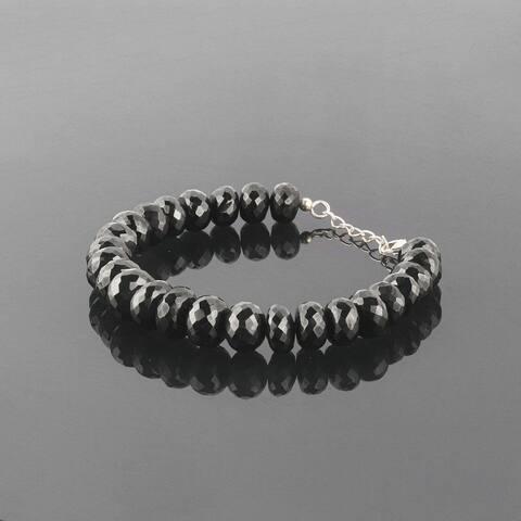Natural Shungite Beads Bracelet 925 Sterling Silver Healing Chakra Women Jewelry