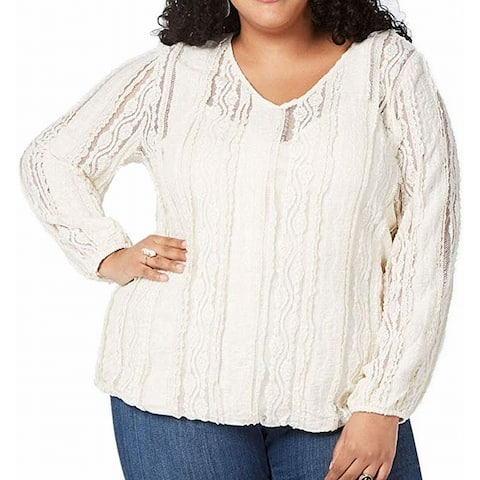 Style & Co. Womens Blouse Ivory Size 3X Plus V-Neck Textured Lace