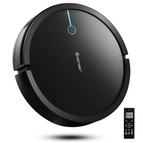 Costway Robot Vacuum Cleaner 2000Pa Strong Suction Filter Auto Self-Charging WhiteBlack