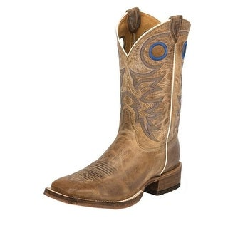 """Justin Western Boots Mens Cowhide Leather 11"""" Shaft Beige Chievo BR744"""