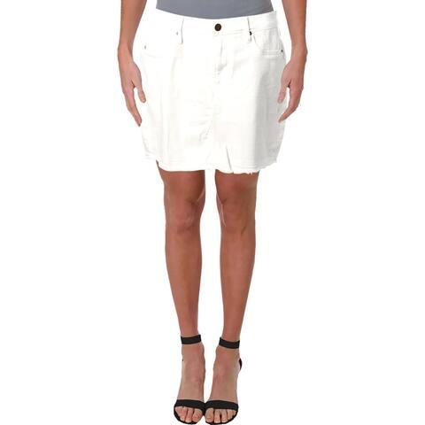 Aqua Womens Mini Skirt Denim Raw Hem