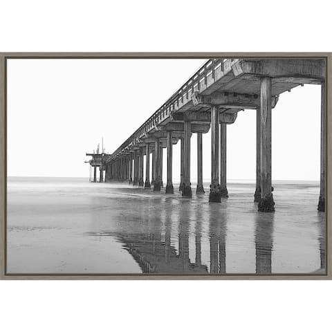 Scripps Pier at dawn by Peter Hawkins Framed Canvas Art
