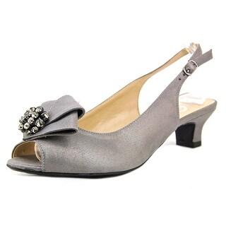 J. Renee Jadan Women Peep-Toe Canvas Silver Slingback Heel