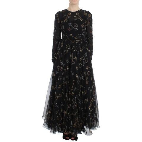 Dolce & Gabbana Dolce & Gabbana Masterpiece key print long sleeve full length maxi dress - it38-xs