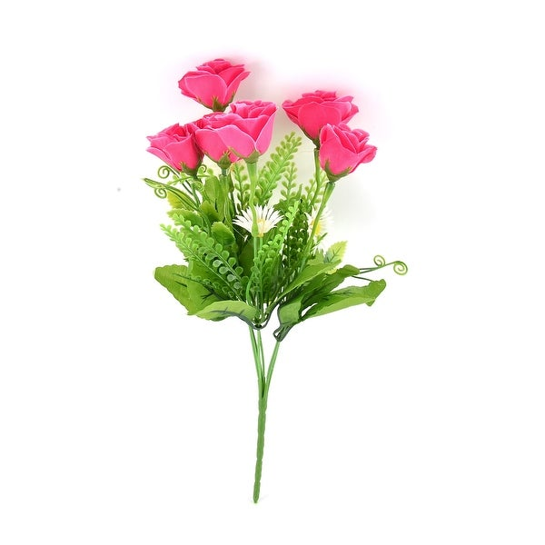 Wedding Party Decor Rose Buds 6 Heads Artificial Flower Bouquet Nosegay Red