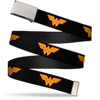 "Blank Chrome 1.0"" Buckle Wonder Woman Logo Black Webbing Web Belt 1.0"" Wide - S"