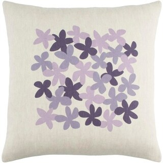 """22"""" Eggplant Purple, Lilac and Faded Dark Orchid Purple Decorative Throw Pillow - Down"""