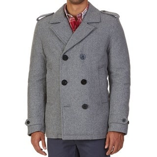 Nautica NEW Gray Mens Size Large L Double Breasted Peacoat Wool Coat