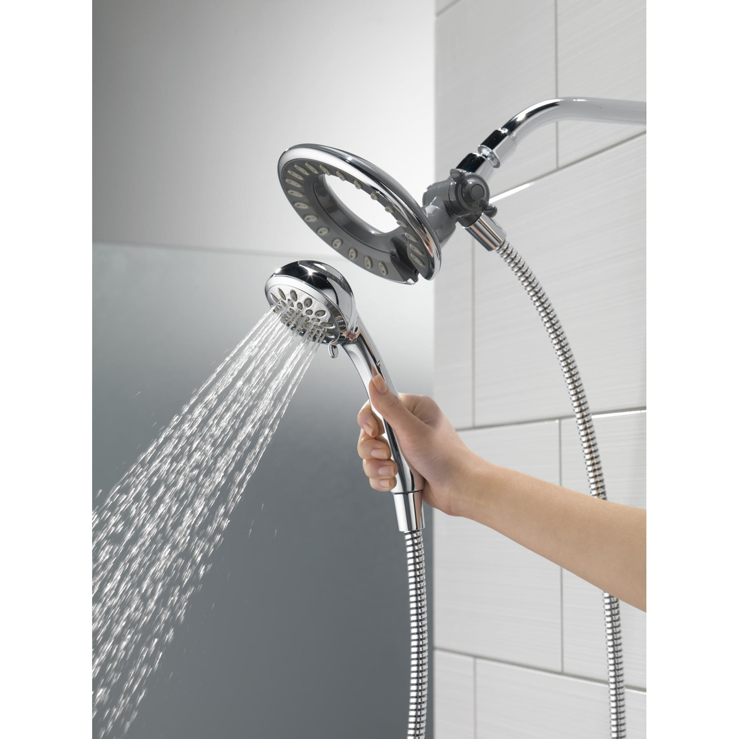 Delta 58065 1 75 Gpm In2ition 2 In 1 Shower Head And Hand Shower With 4 Spray Settings