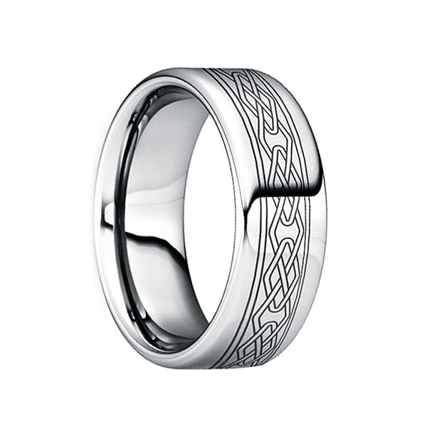 POMPILIUS Engraved Black Celtic Knot Tungsten Wedding Ring with Polished Finish by Crown Ring