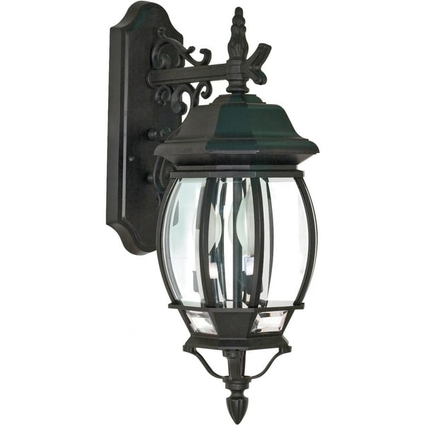 "Nuvo Lighting 60/893 Central Park 3-Light 22-3/4"" Tall Outdoor Wall Sconce with Clear Glass Shade - ADA Compliant"