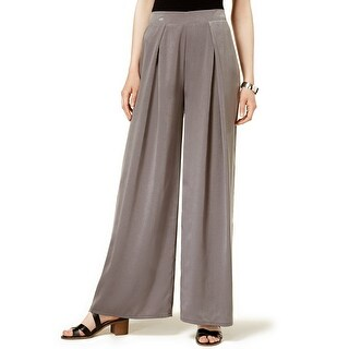 Bar III Pleated Wide Leg Soft Pants Hazy Taupe - S