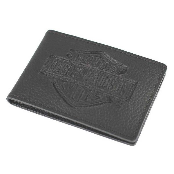"Harley-Davidson Men's Embroidered B&S Leather Duo-Fold Wallet XML2981-BLACK - 4"" x 2.75"""