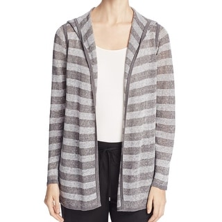 Eileen Fisher NEW Gray Striped Women's Large L Hooded Cardigan Sweater