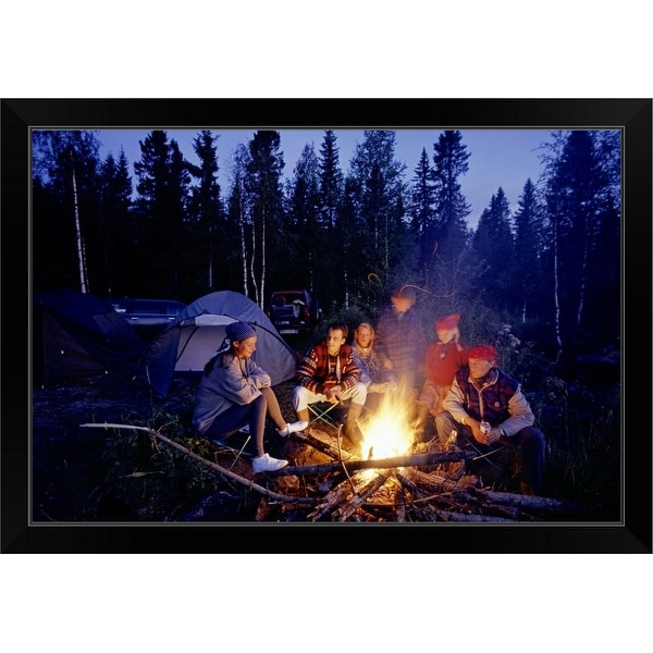 """""""Group of people sitting by campfire"""" Black Framed Print"""
