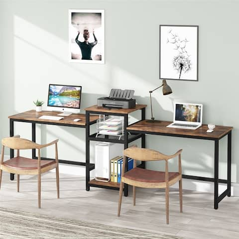 """Two Person Desks, Double Workstation Desk, 96.9"""" Computer Desk with Printer Stand"""