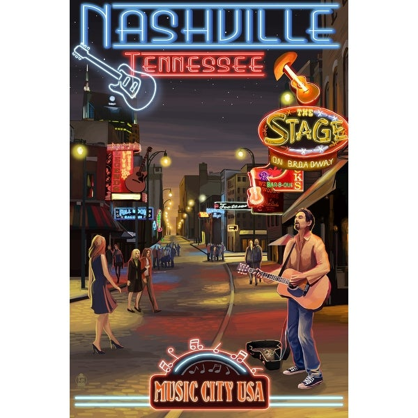 Nashville, TN - Broadway at Night - LP Artwork (Art Print - Multiple Sizes)
