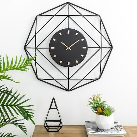 "Glitzhome 24""D Modern Metal Black and Golden Wall Clock"