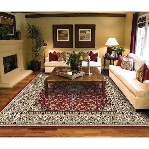 Copper Grove Savonlinna Ivory and Grey Bordered Persian Area Rug