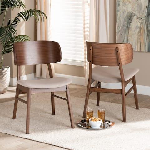 Alston Mid-Century Modern Wood Dining Chair Set (2PCs)