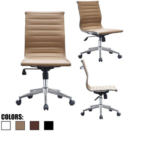 2xhome Tan Sleek Swivel Modern Adjustable PU Leather Office Chair Mid-Back Armless Ribbed Chair Conference Room Work Task Desk