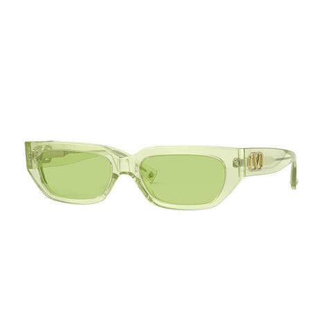 Valentino VA4080 5165/2 53 Green Fluo Woman Rectangle Sunglasses