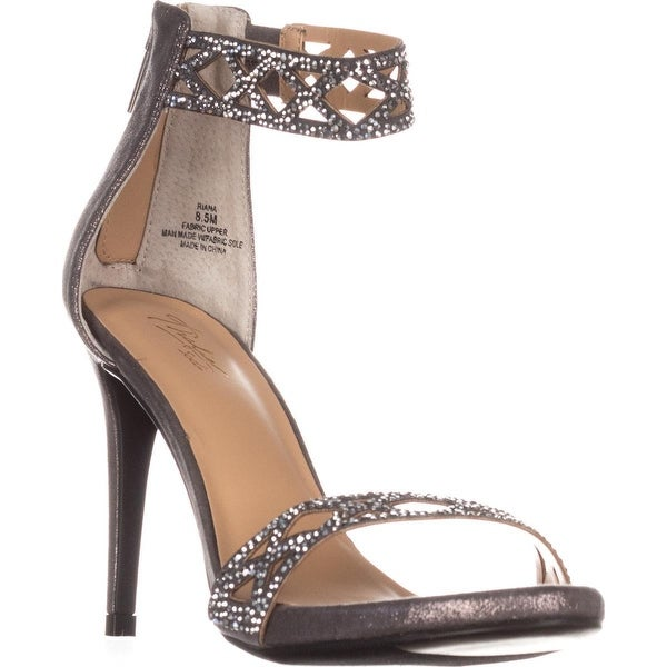 TS35-Riana Ankle Strap Heels, Pewter Metallic