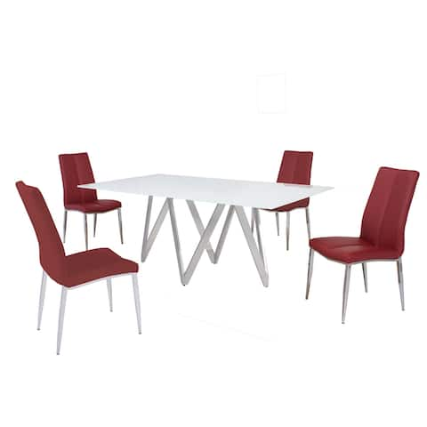 Somette Alyssa Abigail Dining Table with Starphire White Glass Finish