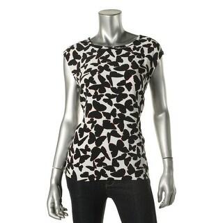 Kate Spade Womens Pattern Cap Sleeves Pullover Top - S
