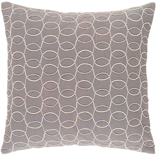 """20"""" Platinum Gray, Silver and Eggshell White Woven Decorative Throw Pillow"""