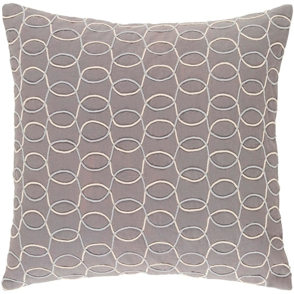 """22"""" Platinum Gray, Silver and Eggshell White Woven Decorative Throw Pillow-Down Filler"""
