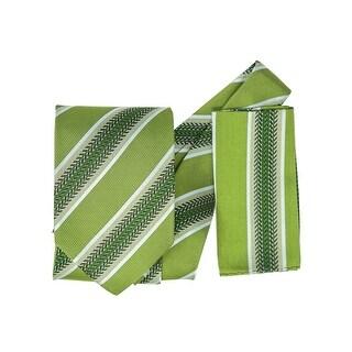 Men's 100% Silk Woven Wedding Neck Tie With Handkerchief - regular