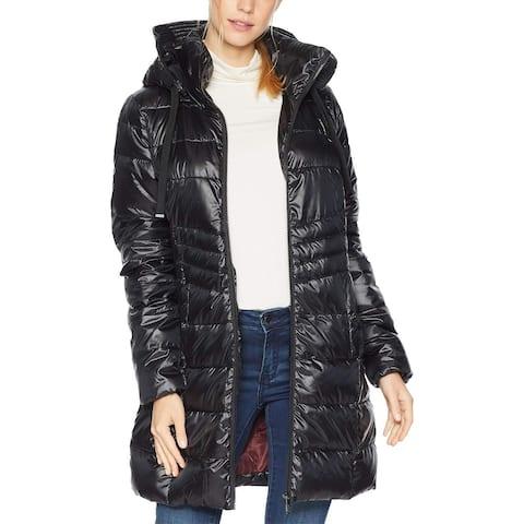 Sam Edelman Womens Jacket Black Size XS Puffer Full-Zip Stand Collar