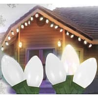 Set of 25 Opaque Clear White C7 Patio Wedding Christmas Lights - Green Wire