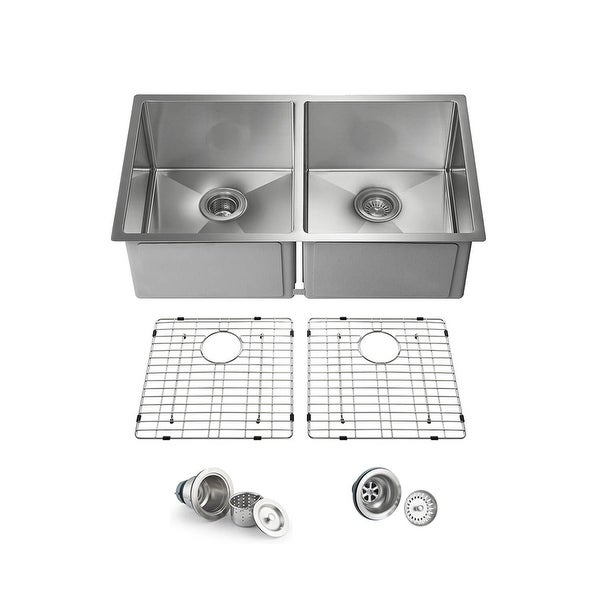 33 Inch Handcrafted Undermount Double Bowl Real 16 gauge Stainless Steel Kitchen Sink with Strainers and Grids. Opens flyout.