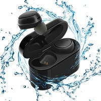 Bluetooth 4.1 EarBuds with Magnetic Charging Case by Indigi - Single or Dual Earpiece Mode - 2.5 Hours of Use (Black)