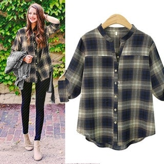 Roll Tab Sleeve Checkered Long Sleeve Blouse