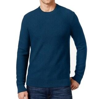Michael Kors NEW Blue Mens Size XL Waffle-Knit Crewneck Wool Sweater