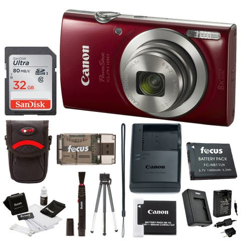 Canon PowerShot ELPH 180 Digital Camera (Red) w/ 32GB Accessory Bundle