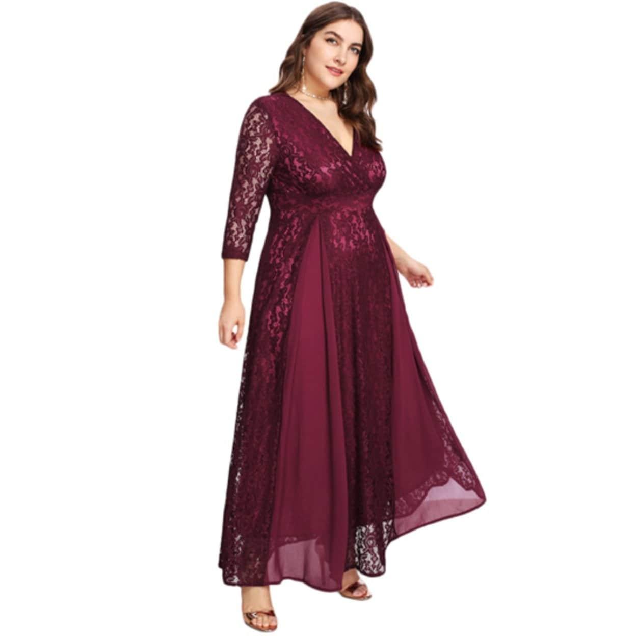 Shop Women\'s Plus Size High Waist Lace Overlay Evening Maxi Dress ...