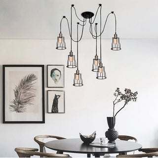 Gymax Vintage Edison Multiple Ajustable DIY Ceiling Spider Lamp Light Pendant Lighting