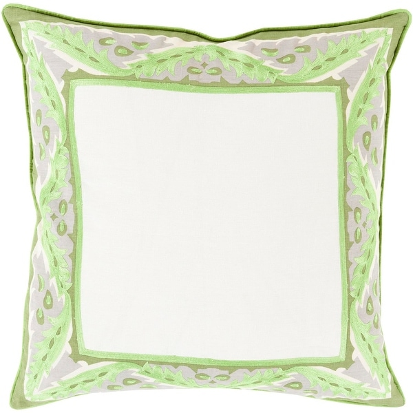 "18"" Green and White Floral Frame Designer Indoor Square Throw Pillow"