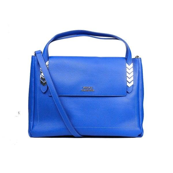 Versace Collection Solid Blue Large Pebbled Leather Arrow Shoulder Bag 06e50b103d