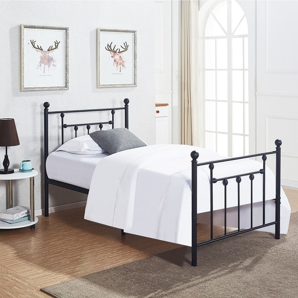 VECELO Bed Frame Twin Size Victorian Metal Platform Box Spring Replacement With Headboard