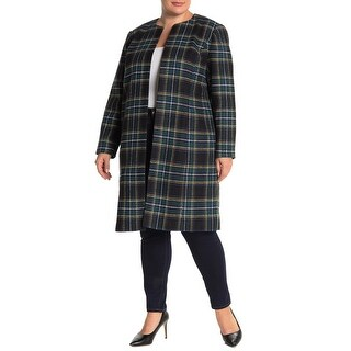 Link to Calvin Klein Womens Jacket Green Multi Size 20W Plus Plaid-Print Long Similar Items in Women's Outerwear