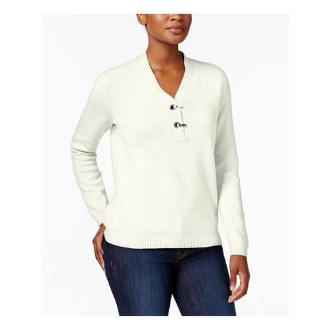 KAREN SCOTT Womens White Long Sleeve V Neck Sweater Size XL