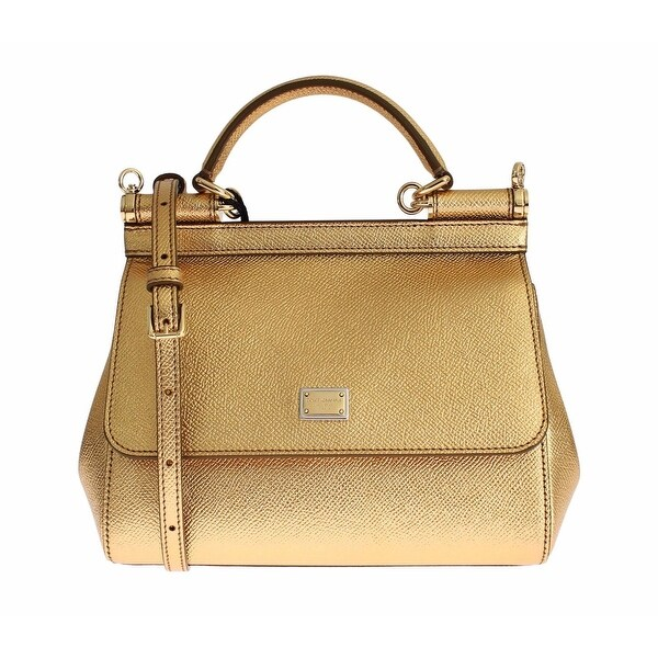 Shop Dolce   Gabbana Miss SICILY Gold Metallic Leather Hand Shoulder Bag -  Free Shipping Today - Overstock.com - 16715061 ace24ed71a